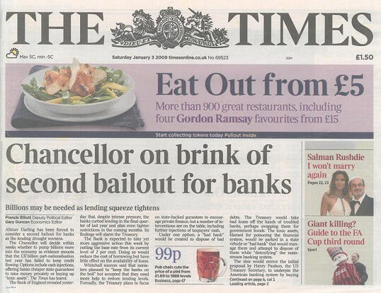 The Times 03/Jan/2009 Chancellor on brink of second bailout for banks